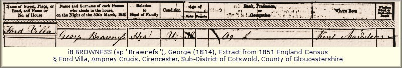 George Browness 1851 Census