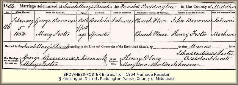 George Browness Marriage Register