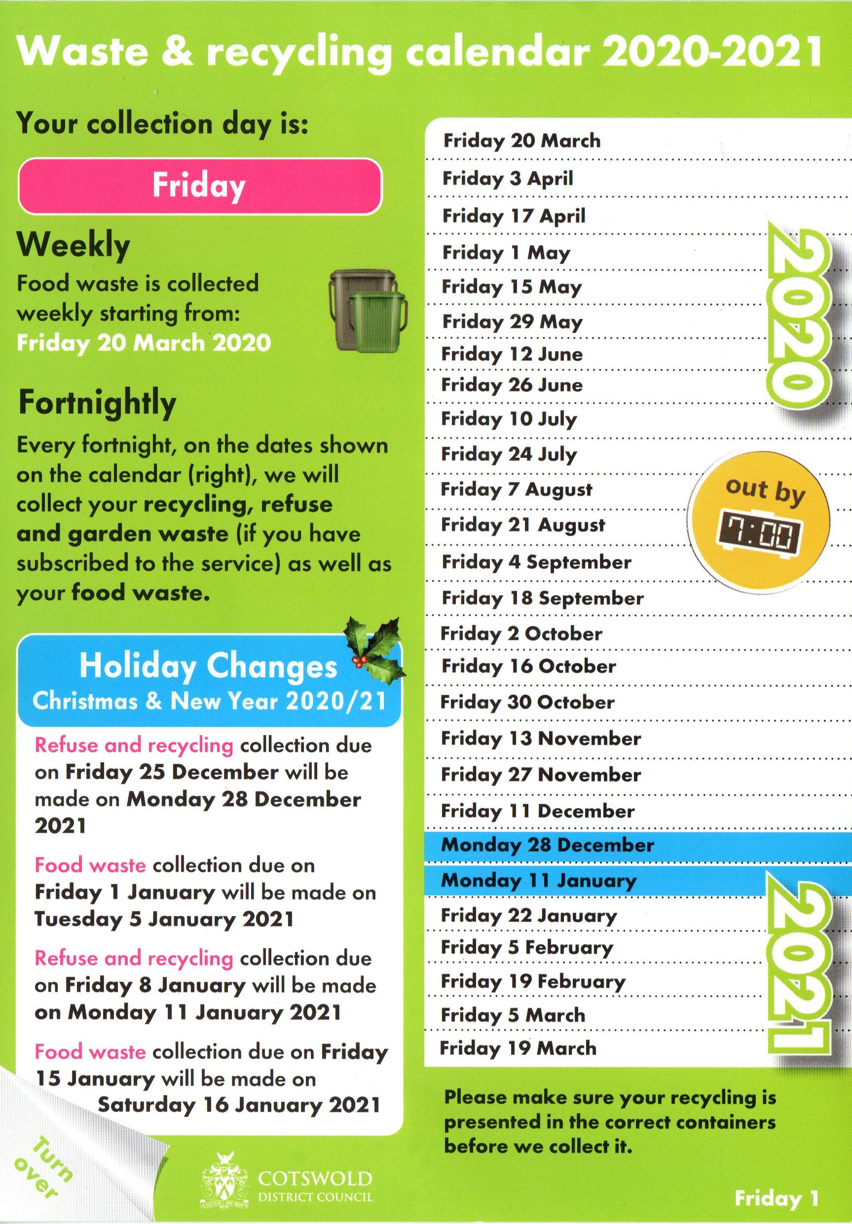 Waste and Recycling Calendar 2020-21